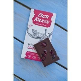 Черен шоколад с червени боровинки 90гр Casa Kakau