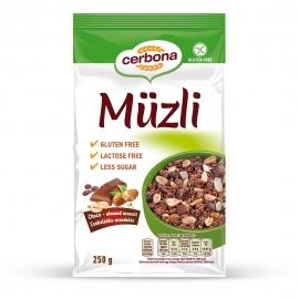 Безглутеново мюсли с шоколад и бадеми без захар и лактоза CERBONA 250 г