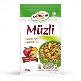 Безглутеново мюсли със семена и плодове без захар и лактоза CERBONA 250 г