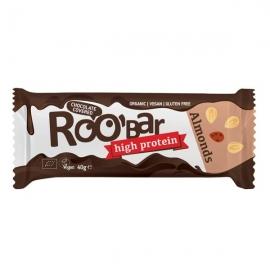 БИО Roobar протеинов бар с бадеми, покрит с шоколад, 40г