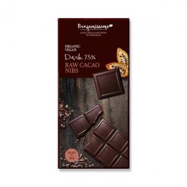 Веган шоколад с нибс и сурови какаови зърна-черен 70гр