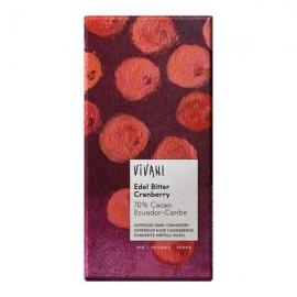 Шоколад фин натурален с червени боровинки 100 гр Vivani