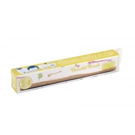 Детска бамбукова четка за зъби - жълта