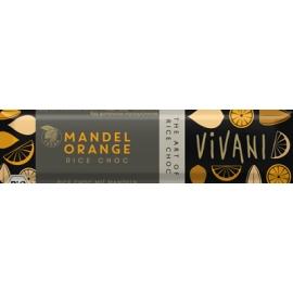 Шоколадов бар с оризово мляко, бадеми и портокал 35гр Vivani